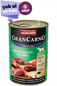 Animonda GranCarno Original Adult Sığır Etli ve Elmalı Yetişkin Köpek Konservesi 6x400gr (6lı)