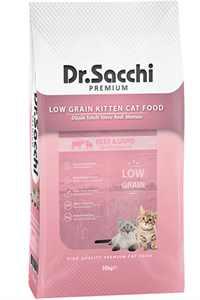 Dr.Sacchi Düşük Tahıllı Kuzu Etli ve Biftekli Yavru Kedi Maması 10kg