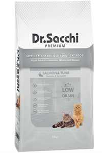 Dr.Sacchi Düşük Tahıllı Somonlu ve Ton Balıklı Kısırlaştırılmış Kedi Maması 10kg