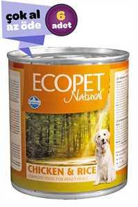 Ecopet Natural Tavuk ve Pirinçli Yetişkin Köpek Konservesi 6x300gr (6lı)