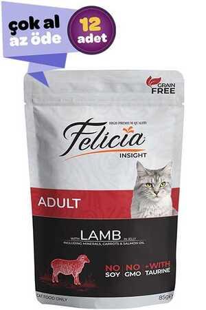 Felicia Tahılsız Kuzu Etli Yetişkin Kedi Konservesi 12x85gr (12li)
