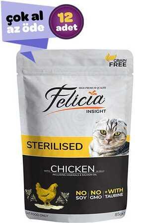 Felicia Tahılsız Tavuklu Kısırlaştırılmış Kedi Konservesi 12x85gr (12li)