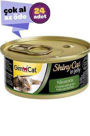 GimCat ShinyCat Tavuk ve Çimenli Kedi Konservesi 24x70gr (24lü)