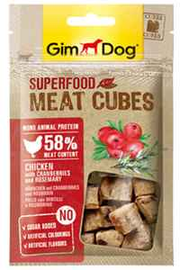 GimDog Superfood Meat Cubes Tavuk Kızılcık ve Biberiyeli Küp Köpek Ödül Maması 40gr