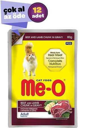 Me-O Adult Gravy Soslu Biftek ve Kuzulu Yetişkin Kedi Konservesi 12x80gr (12li)