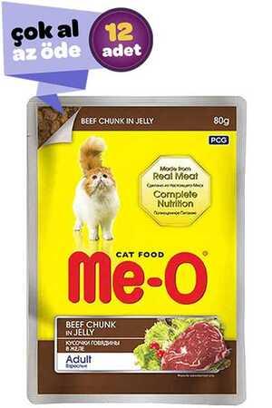 Me-O Adult Jöle İçerisinde Biftekli Yetişkin Kedi Konservesi 12x80gr (12li)