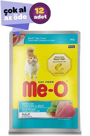 Me-O Adult Jöle İçerisinde Tavuk ve Ton Balıklı Yetişkin Kedi Konservesi 12x80gr (12li)