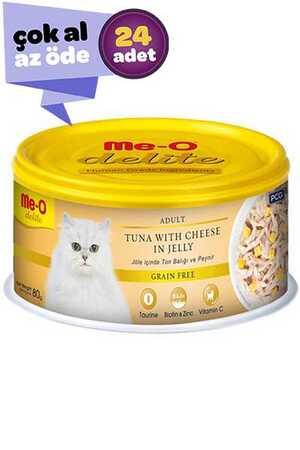 Me-O Delite Jöle İçinde Ton Balıklı ve Peynirli Yetişkin Kedi Konservesi 24x80gr (24lü)