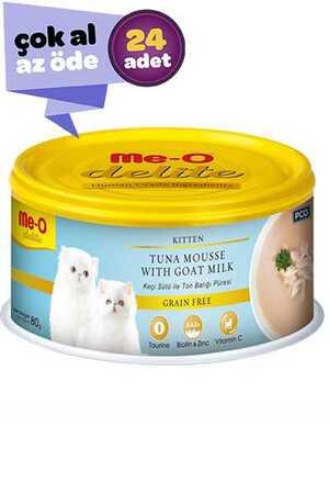 Me-O Delite Keçi Sütlü Ton Balıklı Tahılsız Ezme Yavru Kedi Konservesi 24x80gr (24lü)
