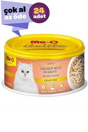 Me-O Delite Sos İçinde Tavuklu Tahılsız Yetişkin Kedi Konservesi 24x80gr (24lü)