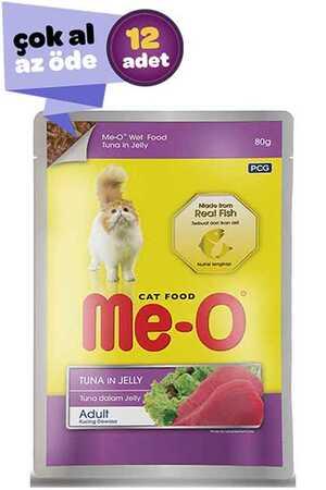 Me-O Jöle İçinde Ton Balıklı Yetişkin Kedi Konservesi 12x80gr (12li)