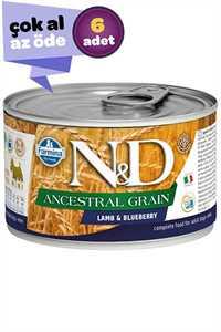 ND Düşük Tahıllı Kuzu Eti ve Yaban Mersinli Yetişkin Köpek Konservesi 6x140gr (6lı)
