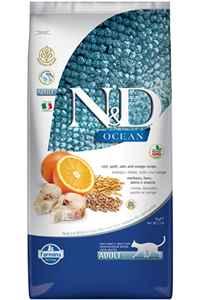 ND Ocean Düşük Tahıllı Morina Balığı ve Portakallı Yetişkin Kedi Maması 5kg