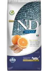 ND Ocean Tahılsız Ringa Balığı ve Portakallı Kısırlaştırılmış Kedi Maması 5kg