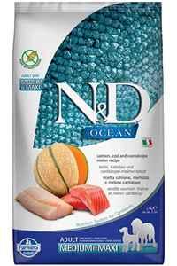 N&D Ocean Tahılsız Somon Morina Balığı ve Kavunlu Büyük ve Orta Irk Yetişkin Köpek Maması 2,5kg