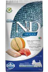 ND Ocean Tahılsız Somon Morina Balığı ve Kavunlu Mini Irk Yetişkin Köpek Maması 7kg