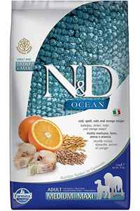 ND Ocean Düşük Tahıllı Morina Balığı ve Portakallı Orta ve Büyük Irk Yetişkin Köpek Maması 2,5kg