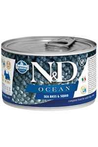 ND Ocean Tahılsız Levrek ve Mürekkep Balıklı Yetişkin Köpek Konservesi 140gr