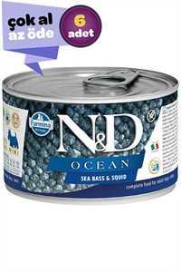 ND Ocean Tahılsız Levrek ve Mürekkep Balıklı Yetişkin Köpek Konservesi 6x140gr (6lı)