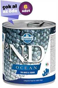 ND Ocean Tahılsız Levrek ve Mürekkep Balıklı Yetişkin Köpek Konservesi 6x285gr (6lı)