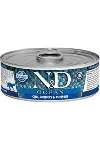 ND Ocean Tahılsız Morina Balığı Balkabağı ve Karidesli Yetişkin Kedi Konservesi 80gr