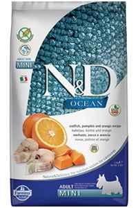 ND Ocean Tahılsız Morina Balığı Balkabağı ve Portakallı Küçük Irk Yetişkin Köpek Maması 7kg