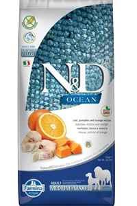 ND Ocean Tahılsız Morina Balığı Balkabağı ve Portakallı Orta ve Büyük Irk Köpek Maması 12 kg