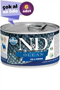 ND Ocean Tahılsız Morina Balığı ve Balkabaklı Yetişkin Köpek Konservesi 6x140gr (6lı)