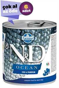 ND Ocean Tahılsız Morina Balığı ve Balkabaklı Yetişkin Köpek Konservesi 6x285gr (6lı)