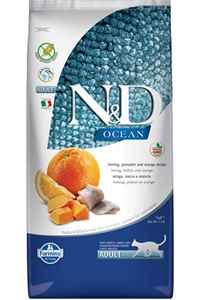 ND Ocean Tahılsız Ringa Balığı Balkabağı ve Portakallı Yetişkin Kedi Maması 5kg