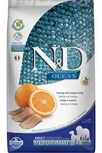 ND Ocean Tahılsız Ringa Balığı ve Portakallı Orta ve Büyük Irk Yetişkin Köpek Maması 2,5kg