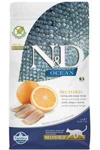 ND Ocean Tahılsız Ringa Balıklı ve Portakallı Kısırlaştırılmış Kedi Maması 1,5kg
