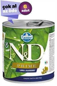 ND Prime Tahılsız Kuzu Eti ve Yaban Mersinli Yetişkin Köpek Konservesi 6x285gr (6lı)