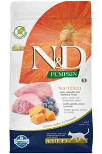 ND Pumpkin Tahılsız Kuzu Eti Balkabağı ve Yaban Mersinli Kısırlaştırılmış Kedi Maması 1,5kg