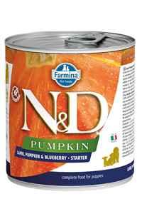 ND Pumpkin Starter Kuzu Eti Balkabağı ve Yaban Mersinli Yavru Köpek Konservesi 285gr