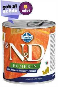 ND Pumpkin Starter Kuzu Eti Balkabağı ve Yaban Mersinli Yavru Köpek Konservesi 6x285gr (6lı)