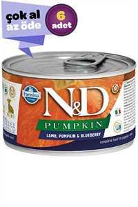 ND Pumpkin Starter Tahılsız Kuzu Eti Balkabağı ve Yaban Mersinli Yavru Köpek Konservesi 6x140gr (6lı)