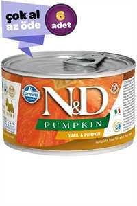 ND Pumpkin Tahılsız Bıldırcın Eti ve Balkabaklı Yetişkin Köpek Konservesi 6x140gr (6lı)