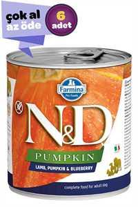 ND Pumpkin Tahılsız Kuzu Eti Balkabağı ve Yaban Mersinli Yetişkin Köpek Konservesi 6x285gr (6lı)