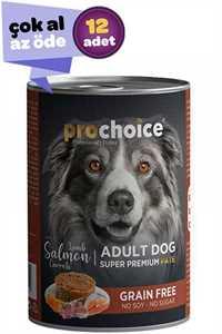 Pro Choice Kuzu Etli ve Somonlu Havuçlu Ezme Yetişkin Köpek Konservesi 12x400gr (12li)