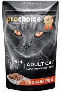 Pro Choice Pouch Somonlu ve Ciğerli Tahılsız Yetişkin Kedi Konservesi 85gr