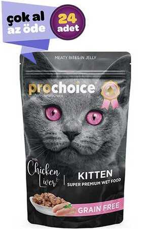 Pro Choice Pouch Tavuklu ve Ciğerli Tahılsız Yavru Kedi Konservesi 24x85gr (24lü)