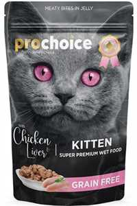 Pro Choice Pouch Tavuklu ve Ciğerli Tahılsız Yavru Kedi Konservesi 85gr