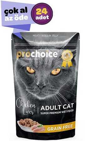 Pro Choice Pouch Tavuklu ve Ciğerli Tahılsız Yetişkin Kedi Konservesi 24x85gr (24lü)