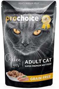 Pro Choice Pouch Tavuklu ve Ciğerli Tahılsız Yetişkin Kedi Konservesi 85gr