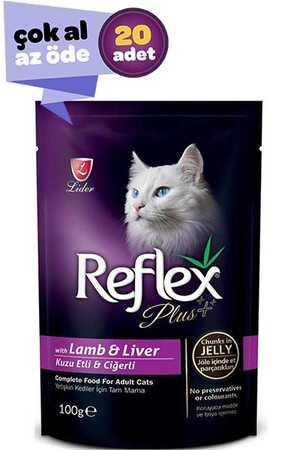 Reflex Plus Kuzu Eti ve Ciğerli Kedi Konservesi 20x100gr (20li)