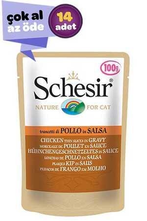Schesir Pouch Gravy Tavuklu Kıyılmış Yetişkin Kedi Konservesi 14x85gr (14lü)