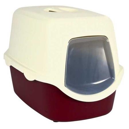 Trixie Kapalı Kedi Tuvaleti 40x40x56cm Bordo-Krem